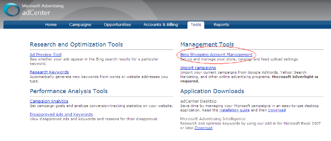 Bing Shopping Account Management