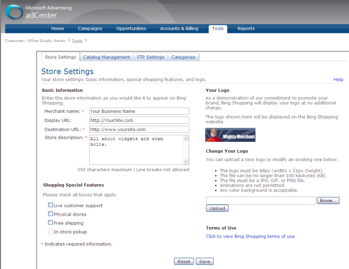 Completing adCenter account set-up